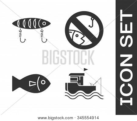 Set Fishing Boat With Fishing Rod On Water, Fishing Lure, Fish And No Fishing Icon. Vector