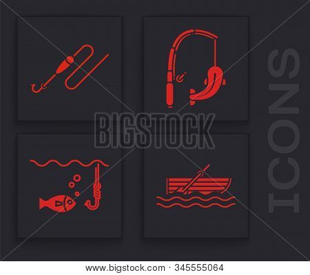 Set Fishing Boat With Oars On Water, Fishing Line With Hook And Float, Fishing Rod And Fish And Fish