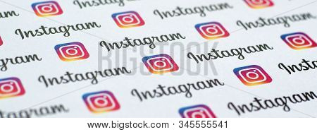 Instagram Pattern Printed On Paper With Small Instagram Logos And Inscriptions. Instagram Is America
