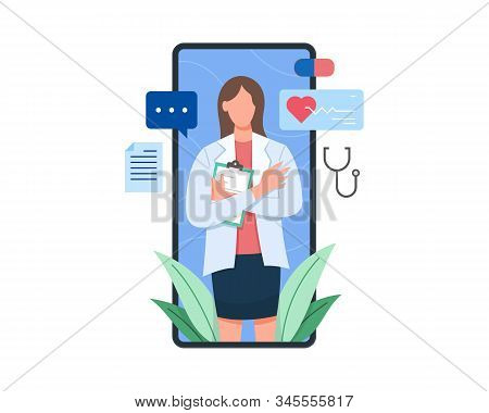 Vector Illustration Female Doctor On The Screen Of Smartphone Holding Clipboard. Online Health Consu