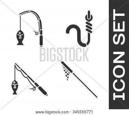 Set Fishing Net, Fishing Rod And Fish, Fishing Rod And Fish And Fishing Hook And Worm Icon. Vector