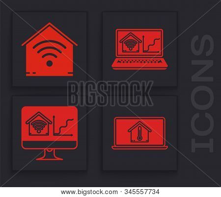 Set Laptop With House Temperature, Smart Home With Wi-fi, Laptop With Smart Home With Wi-fi And Comp