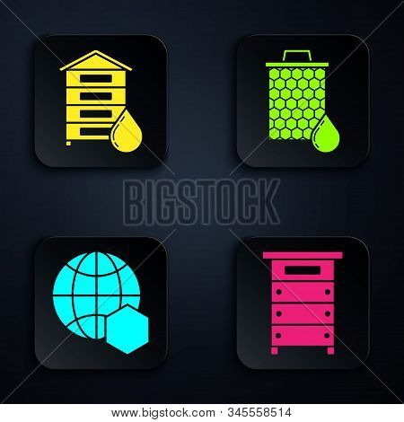 Set Hive For Bees, Hive For Bees, Honeycomb Map Of The World And Honeycomb. Black Square Button. Vec