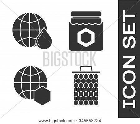 Set Honeycomb, Honeycomb Map Of The World, Honeycomb Map Of The World And Jar Of Honey Icon. Vector