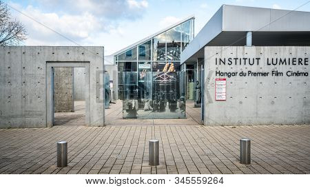 Lyon France , 5 January 2020 : Institut Lumiere Hangar Or Shed View Where The First Film Of History