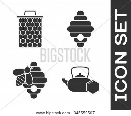Set Tea Kettle With Honey, Honeycomb, Hive For Bees And Hive For Bees Icon. Vector