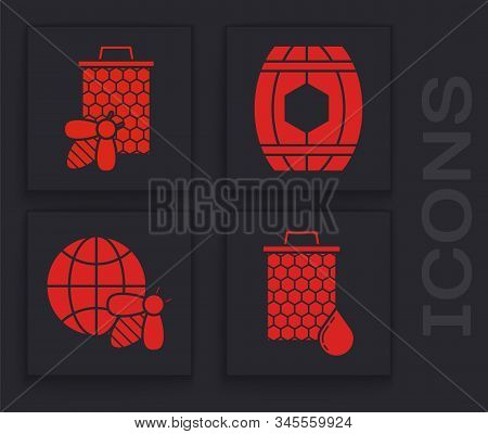 Set Honeycomb, Bee And Honeycomb, Wooden Barrel With Honey And Honeycomb Map Of The World And Bee Ic