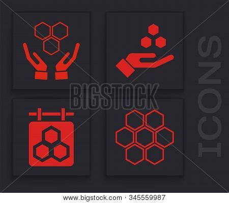 Set Honeycomb, Honeycomb And Hands, Honeycomb And Hand And Hanging Sign With Honeycomb Icon. Vector