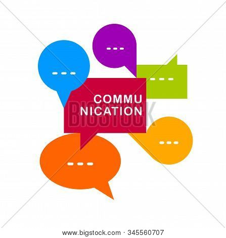 Different Speech Bubbles Composition Vector Flat Design Isolated On White, Global Communication Conc