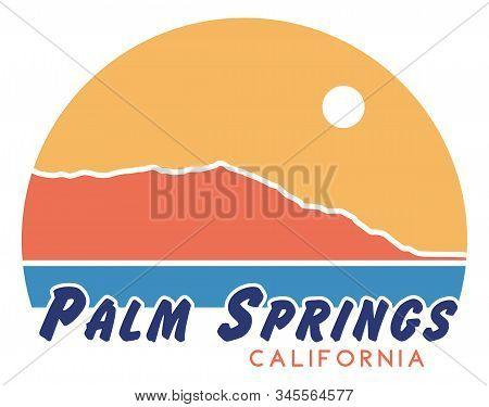Palm Springs T-shirt Design | Retro California Screen Printing Graphic | Vector Illustration | 1970s