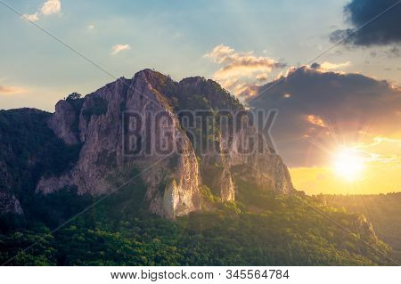 Rock Formation On The Field At Sunset. Beautiful Rural Landscape In Mountains. Wonderful Scenery In