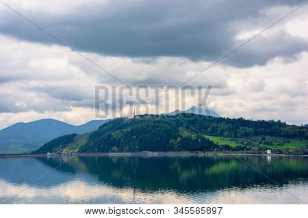 Lake Liptovska Mara In Slovakia. Wondeful Travel Destination Of High Tatras Mountain Ridge. Cloudy W