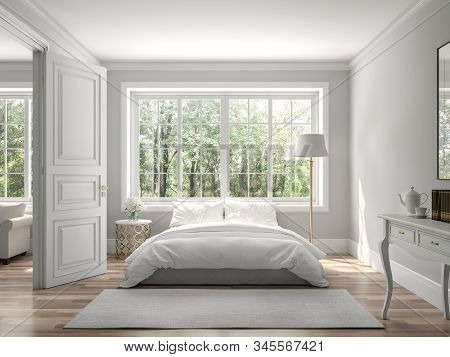 Classical Bedroom And Living Room 3d Render,the Rooms Have Wooden Floors And Gray Walls ,decorate Wi
