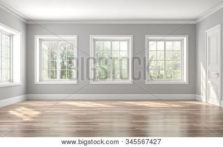 Classical Empty Room Interior 3d Render,the Rooms Have Wooden Floors And Gray Walls ,decorate With W