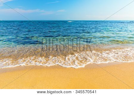 Sea Scenery In Summer. Beach With Golden Sand. Wonderful Vacation Background With Transparent Calm W
