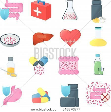 Set Of Gastrointestinal Tract And Medical Health. Concept Icon And Label. Health Research Symbol, Ic