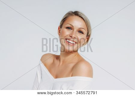 Beauty Portrait Of Blonde Smiling Laughing Woman 35 Year Plus Clean Fresh Face Isolated On The White