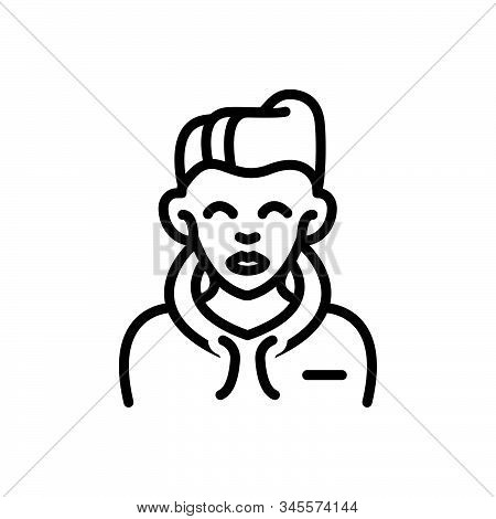 Black Line Icon For Boy Bloke Lad Youngster Juvenile Youthful