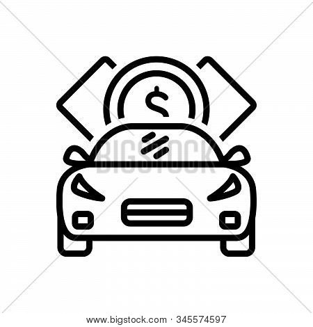 Black Line Icon For Loan Indebtedness Debt Minus Loaning Borrow Car