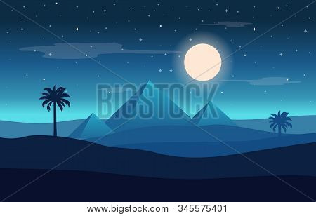 Full Moon Night Egypt Pyramid Desert Arabian Landscape Illustration