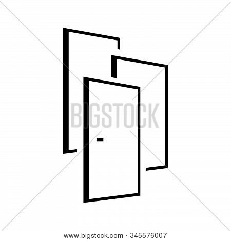 3 Doors Logo Vector Design Overlapping Door Means Many Choices And Oportunity Concept Template
