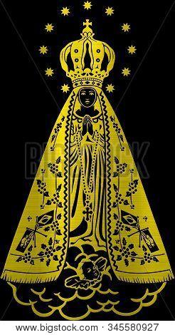 Holy Lady Saint Aparecida Catholic  Brazilian Sacred Belief Metallic Golden Illustration