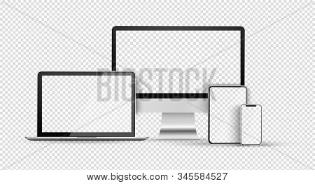 Device Set With Empty Screen. Blank Computer Monitor, Phone, Tablet And Laptop