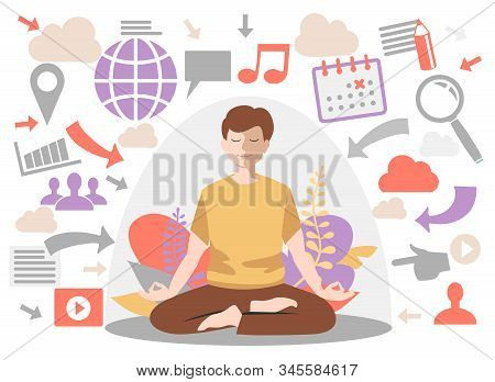 Personal Space Concept. Man Introvert. Meditation, Calm Flat Male Character, Vector Illustration. In