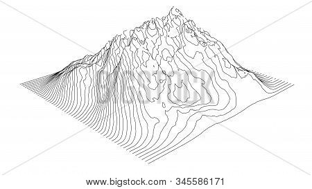 Curve Lines In The Shape Of A Part Of A Mountain Range. Vector Illustration Is Derived From 3d Rende