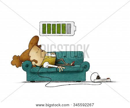 Illustration Of A Businesswoman On The Sofa Is Connected To The Power Grid While Recharging Energy.