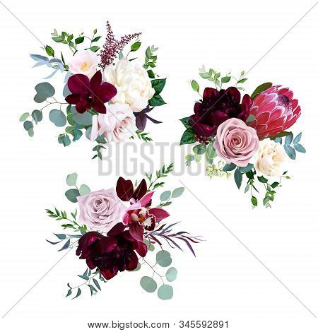 Dusty Pink, Mauve And Creamy Rose, Magenta Protea, Burgundy And White Peony Flowers, Orchid, Pink Ca