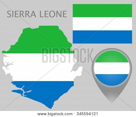 Colorful Flag, Map Pointer And Map Of Sierra Leone In The Colors Of The Sierra Leone Flag. High Deta
