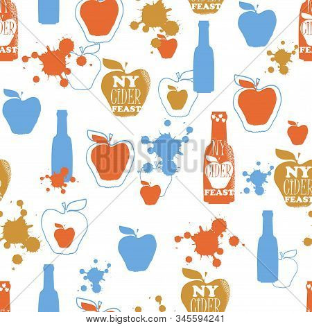 Vector Seamless Background For Seasonal New York City Cider Festival. Apple Silhouettes, Apple Cider