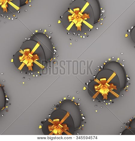Happy Valentines Day, Valentines Day Background, Black Opened Heart Shape Gift Box Ribbon, Gold Conf