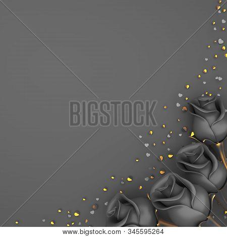 Happy Valentines Day, Valentines Day Background, Black Rose Flower, Gold Confetti Glitter On Gray Ba