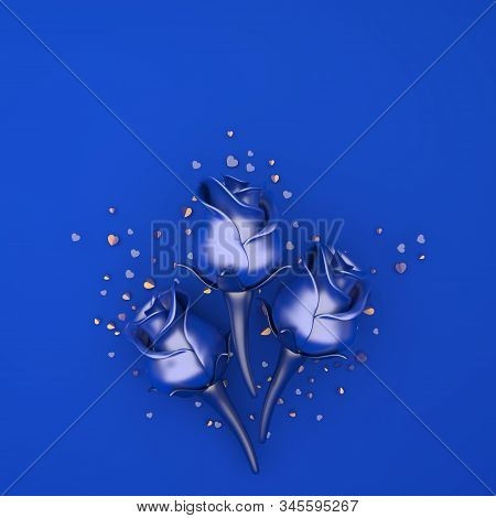 Happy Valentines Day, Valentines Day Background, Rose Flower, Gold Confetti Glitter On Blue Backgrou