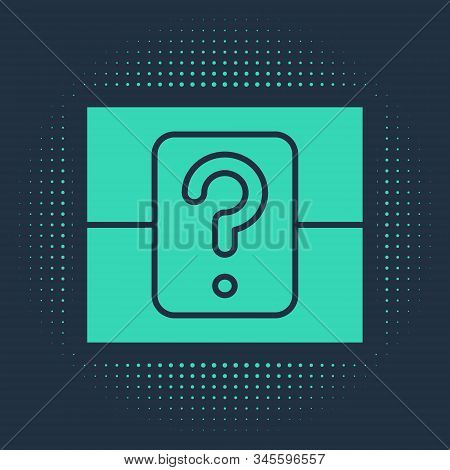 Green Mystery Box Or Random Loot Box For Games Icon Isolated On Blue Background. Question Box. Abstr