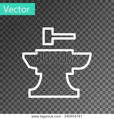 White Line Anvil For Blacksmithing And Hammer Icon Isolated On Transparent Background. Metal Forging