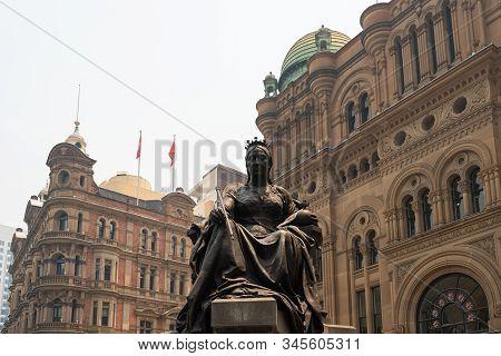 Statue Of Queen Victoria In Front Of Qvb (queen Victoria Building), Sydney Australia 19-12-2019