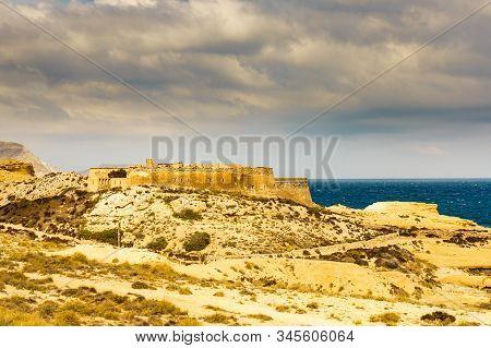 Castle San Ramon Above Beach Of El Playazo, Cabo De Gata Nijar, Province Almer