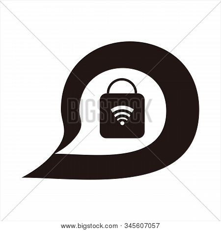 Padlock Message Icon, Isolated Icon With White Background. Message Icon. Padlock Icon. Trendy Icon.