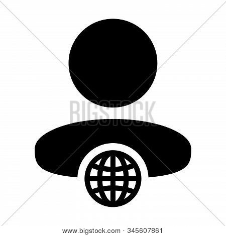 Staff Icon Vector Globe With Male Person Profile Avatar Symbol For A Business Network In A Flat Colo