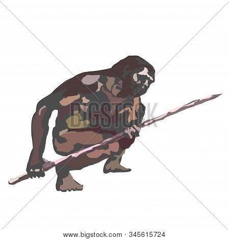 Neanderthals, Cavemen, Holding Spears In Their Hands.