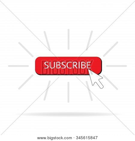 Subscribe Button Color With Arrow Cursor And Shadow. Vector Illustration Design Red Color Button