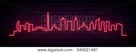 Red Neon Skyline Of Toronto City. Bright Toronto Long Banner. Vector Illustration.