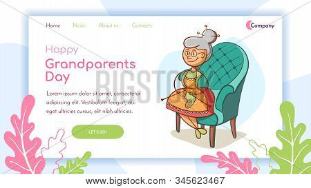 Landing Page. Grandmother In A Chair Knits Socks. Vector Illustration