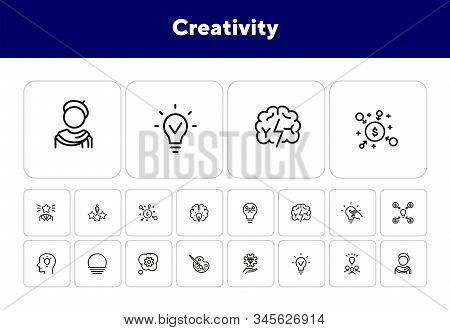 Creativity Line Icon Set. Artist, Idea, Lightbulb. Creative Job Concept. Can Be Used For Topics Like
