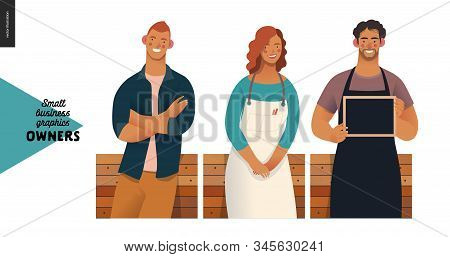 Owners -small Business Owners Graphics. Modern Flat Vector Concept Illustrations -young Man Crossing