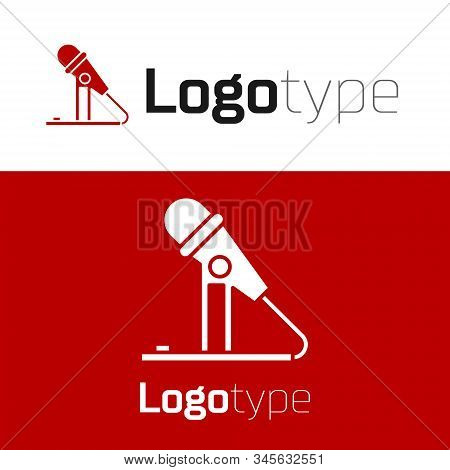 Red Microphone Icon Isolated On White Background. On Air Radio Mic Microphone. Speaker Sign. Logo De