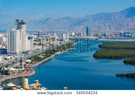 Aerial View Of Ras Al Khaimah, United Arab Emirates North Of Dubai, Looking At The City, , Jebal Jai